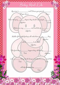 Pink Elephant Baby Mad Lib Game Printable