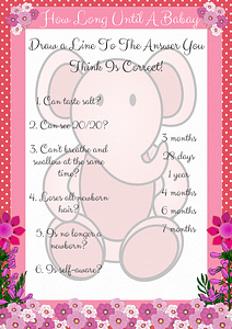 Printable Pink Elephant How Long Until Baby