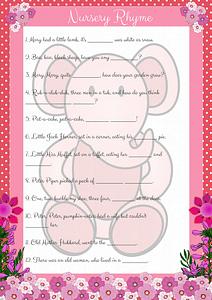 Printable Pink Elephant Nursery Rhyme Game