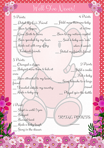 Pink Elephant Printable Well I've Never! Baby Game