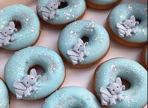 Blue Elephant Baby Shower Doughnuts