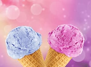 Blue and Pink Ice Cream Cones