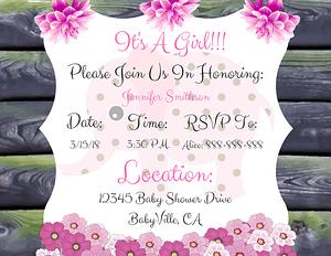 Elephant Baby Shower Invitations Girl