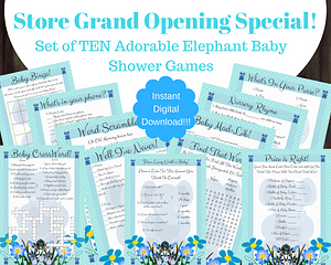 printable blue elephant baby shower games with answers For Boy