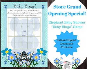 Elephant Baby Shower Games For Boy - Bingo