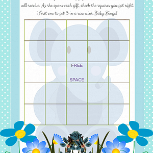 Printable Baby Shower Bingo Game in Blue