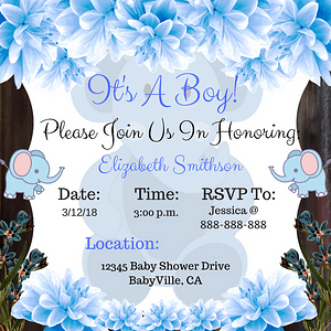 Elephant Baby Shower Theme Invitation