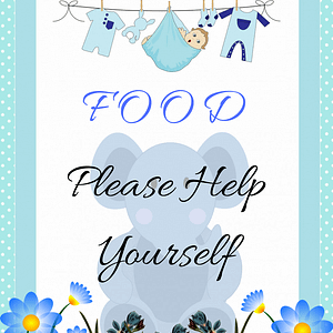 Blue Elephant Food Sign Decorative