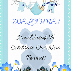 Blue Elephant Welcome Banner Decoration