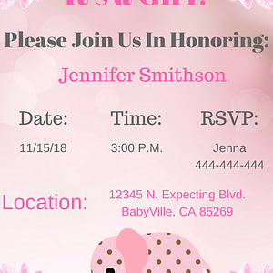 Pink girl elephant Invitation 2