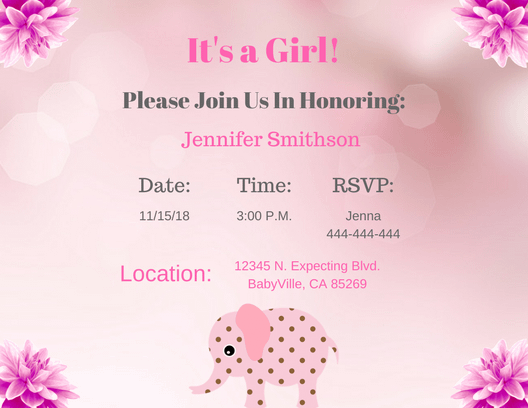 Pink girl elephant Invitation Postcard 2 5.5 x 4.25 2
