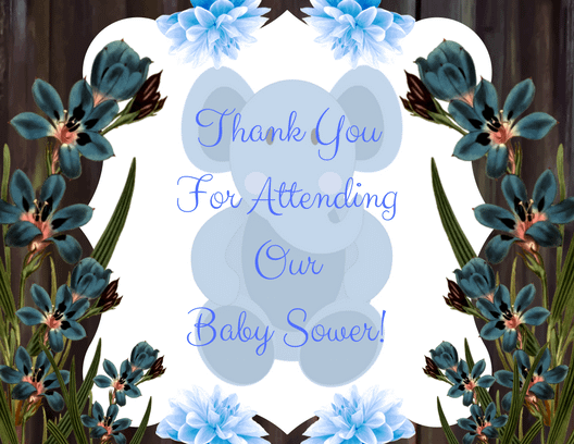 Thank You For Attending Our Baby Sower Blue