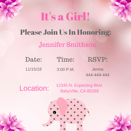Pink girl elephant square Invitation 2 14cm x 14cm