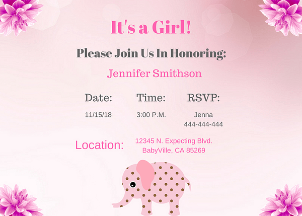 Pink girl elephant Invitation 2 7x5 card