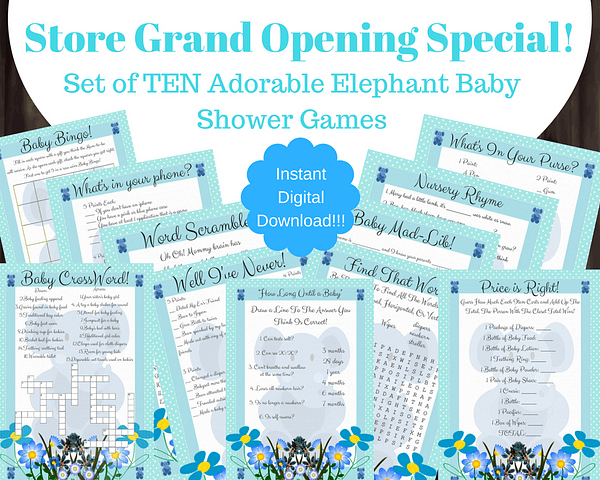 Blue Elephant Baby Shower Game Set Showcase