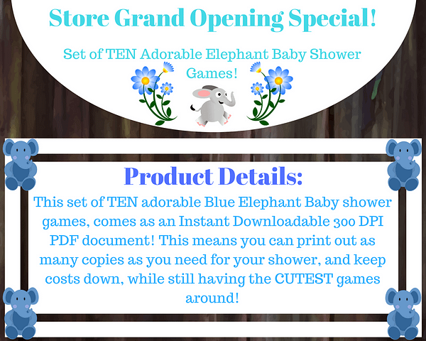 Boy Elephant Baby Shower Games Product Details