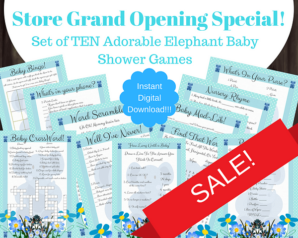 10 Blue Elephant Baby Shower Games For Boy Image