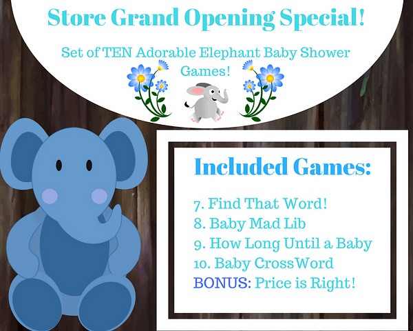 Included Blue Elephant Baby Games 7 11