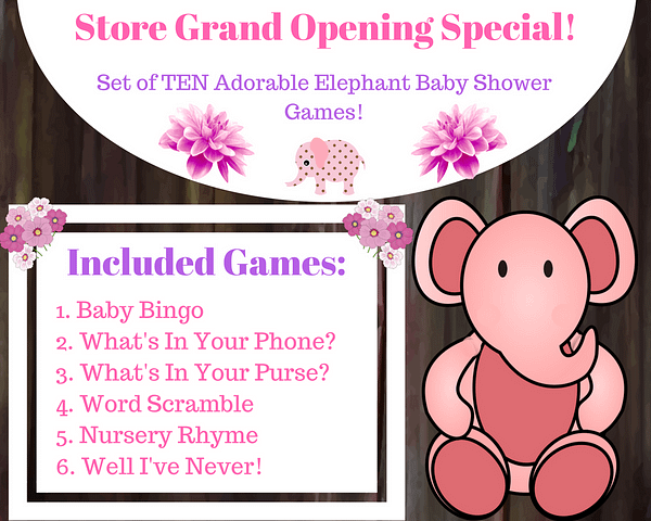 Included PINK Elephant Baby Games 1 6
