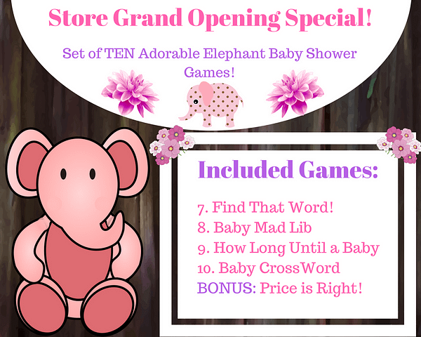 Included PINK Elephant Baby Games 7 11