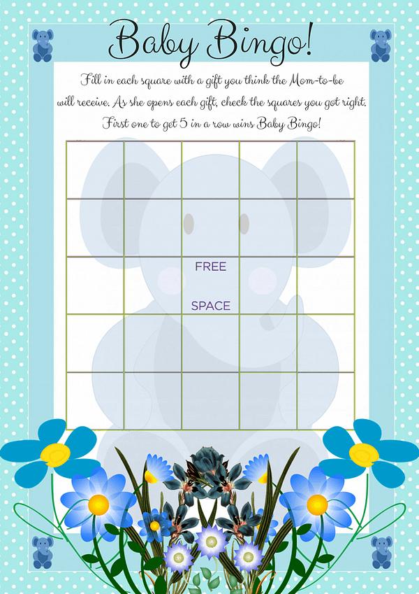 Printable Baby Shower Bingo Game in Blue