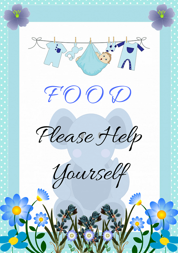 Blue Elephant Food Sign Decorative