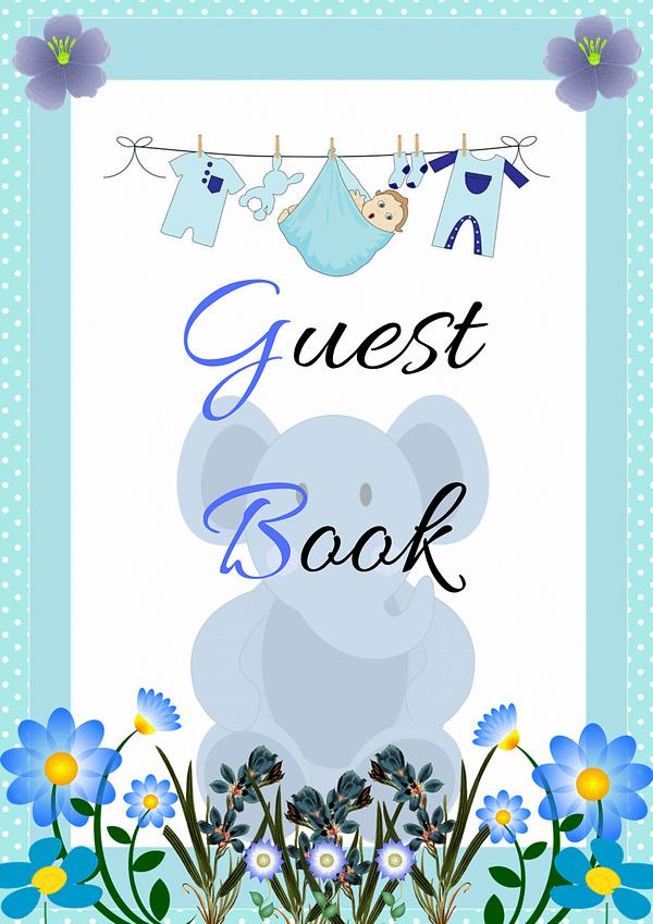 Blue Elephant Guest Book Decoration